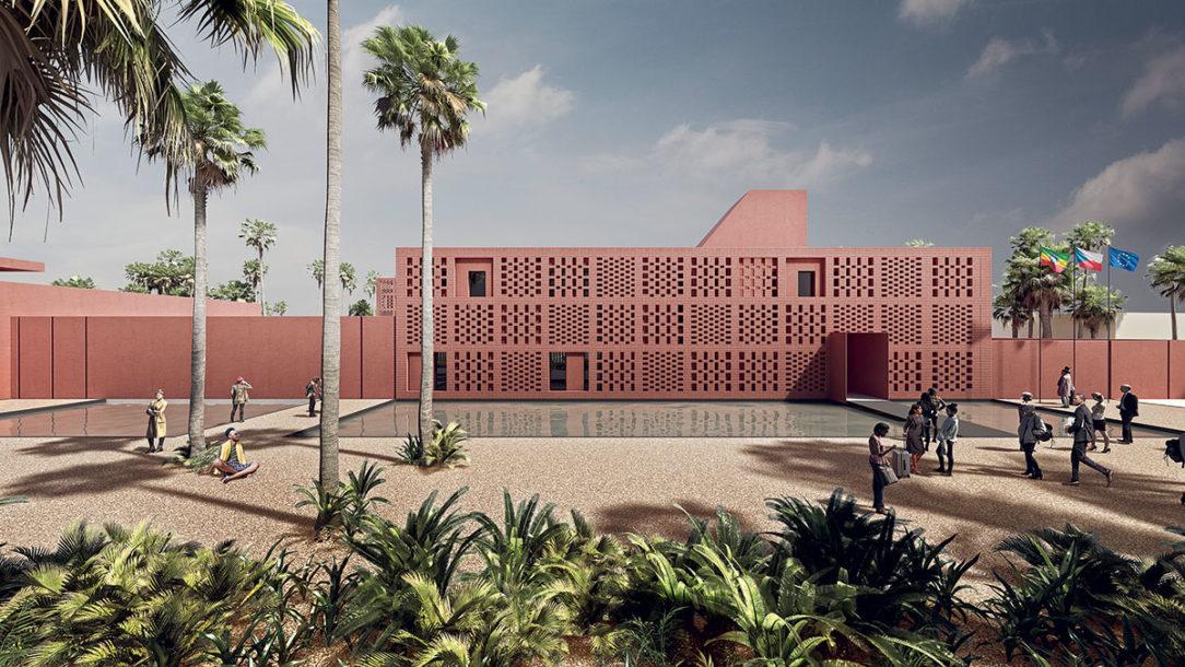 Perforované steny z miestnej tehly sú hlavný priestorový aj estetický prvok.