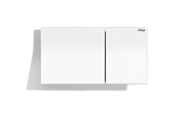 Dizajnová ovládacia doska pre vzdialené splachovanie Viega Visign for More 200 vo verzii z kvalitného tvrdeného bezpečnostného skla vo farbe alpská biela