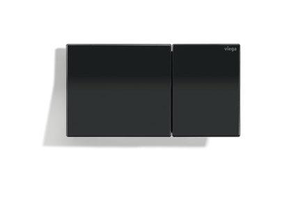 Dizajnová ovládacia doska pre vzdialené splachovanie Viega Visign for More 200 vo verzii z kvalitného tvrdeného bezpečnostného skla vo farbe temno čierna