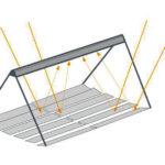 Obr. 1 Fresnelov solárny kolektor. Termoabsorbér je priehľadná sklenená rúra vstrieške hore. Pri dobrých radiačných podmienkach možno dosiahnuť teplotu až 300 °C, na prevádzku chladiaceho systému však postačuje omnoho nižšia teplota.