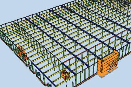 Obr. 1 Pohľad na nosnú konštrukciu strechy