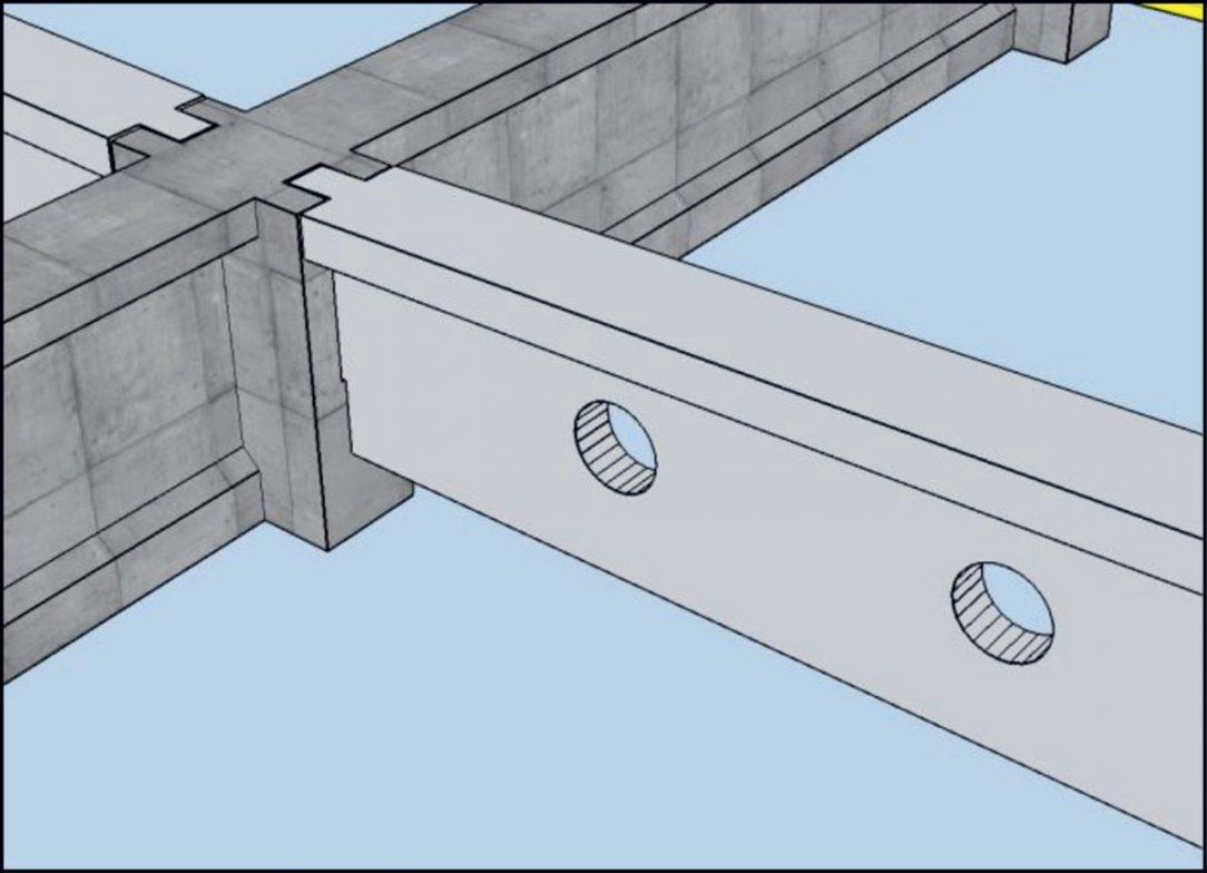 Obr. 5 Uloženie cez betónové konzolky
