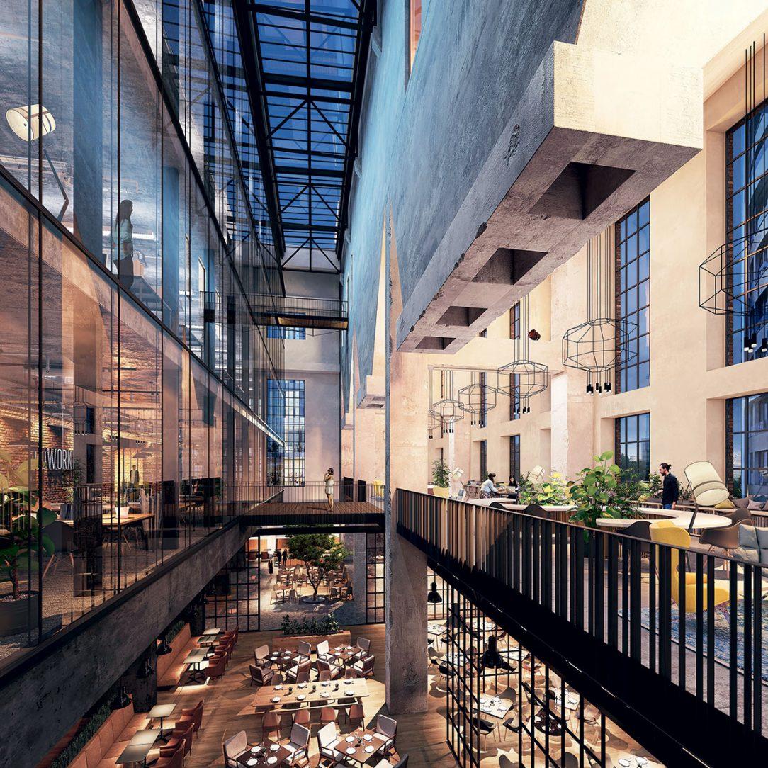 Vizualizácia interiéru Jurkovičovej teplárne po rekonštrukcii.