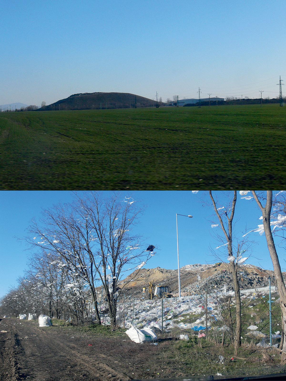 """Obr. 1 Smetisko pri Trnave (jediný kopec v jej okolí). Vrchná fotografia zachytáva pohľad z mesta, zemou zahrnutý """"krásny zelený kopec"""". Spodná fotografia zachytáva """"odvrátenú"""" stranu kopca, kde sa vyvážajú smeti – trnavský kopec stále rýchlo rastie. (zdroj: autor, 23. 2. 2019, 48°23'13.2""""N 17°38'10.4""""E)"""