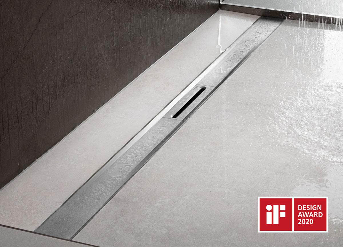 Jeden z piatich ocenených produktov od spoločnosti Viega na súťaži iF Design Award 2020 nový sprchový žliabok Advantix Cleviva.