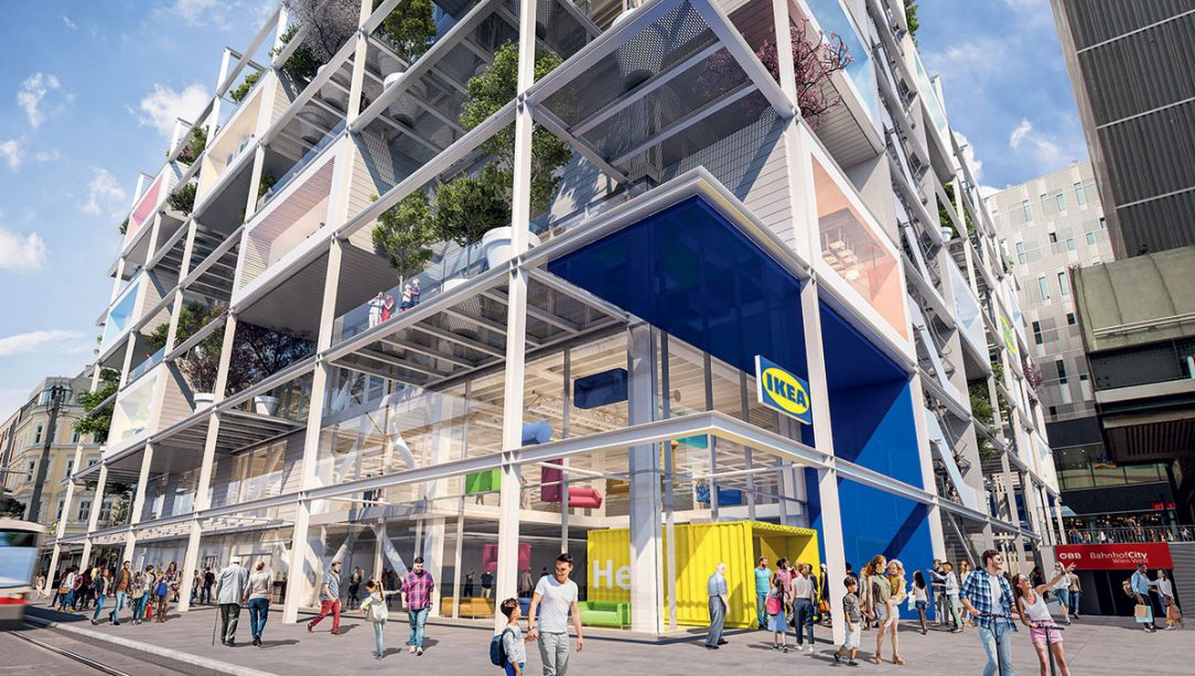 Parter funguje rovnako ako nákupné ulice v centrách miest je priechodný a voľne prístupný z ulice.