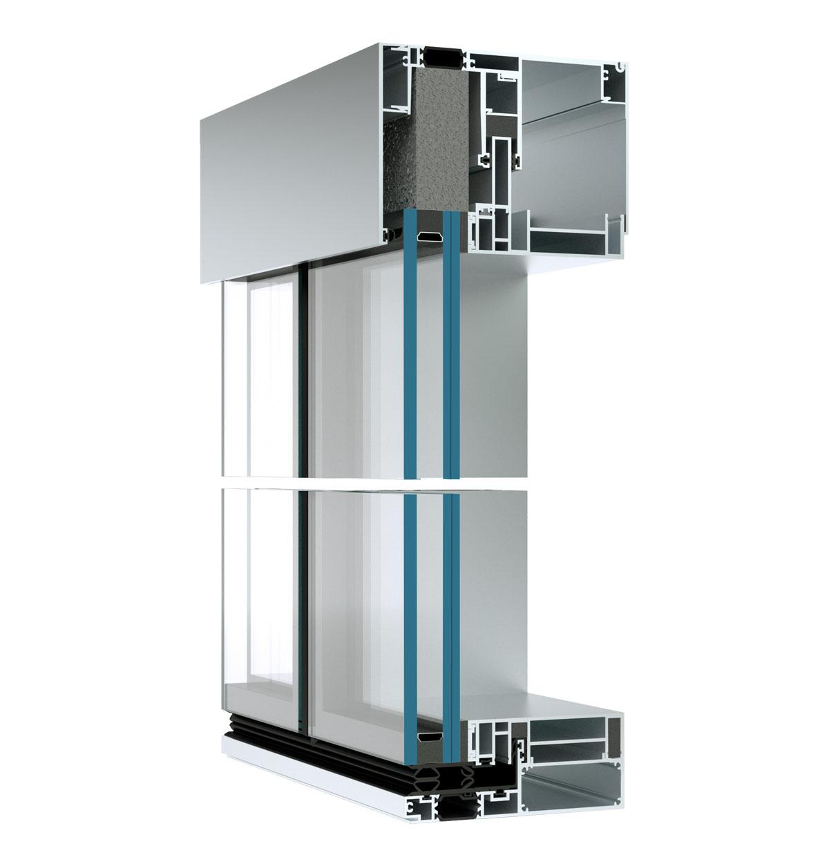 Systém výplňovej prvkovej steny MB SE80 SG WW.