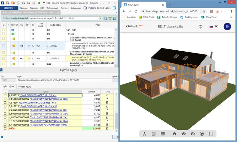 Automaticky vytvorený výkaz výmer z BIM modelu