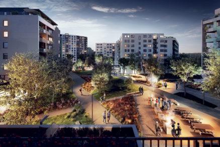 Bývanie v zeleni je nosnou filozofiou urbanisticko architektonického riešenia komplexu.