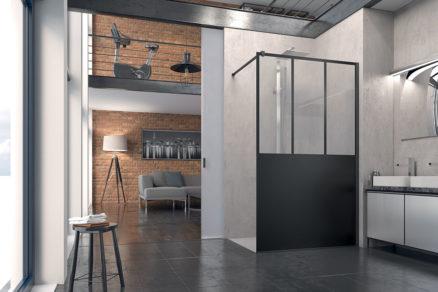 EASY Walk in zástena LOFT s vyrovnávacím profilom čierna sieťotlač na prednej strane skla výška 2000 mm antiplaková úprava skla Aquaperle