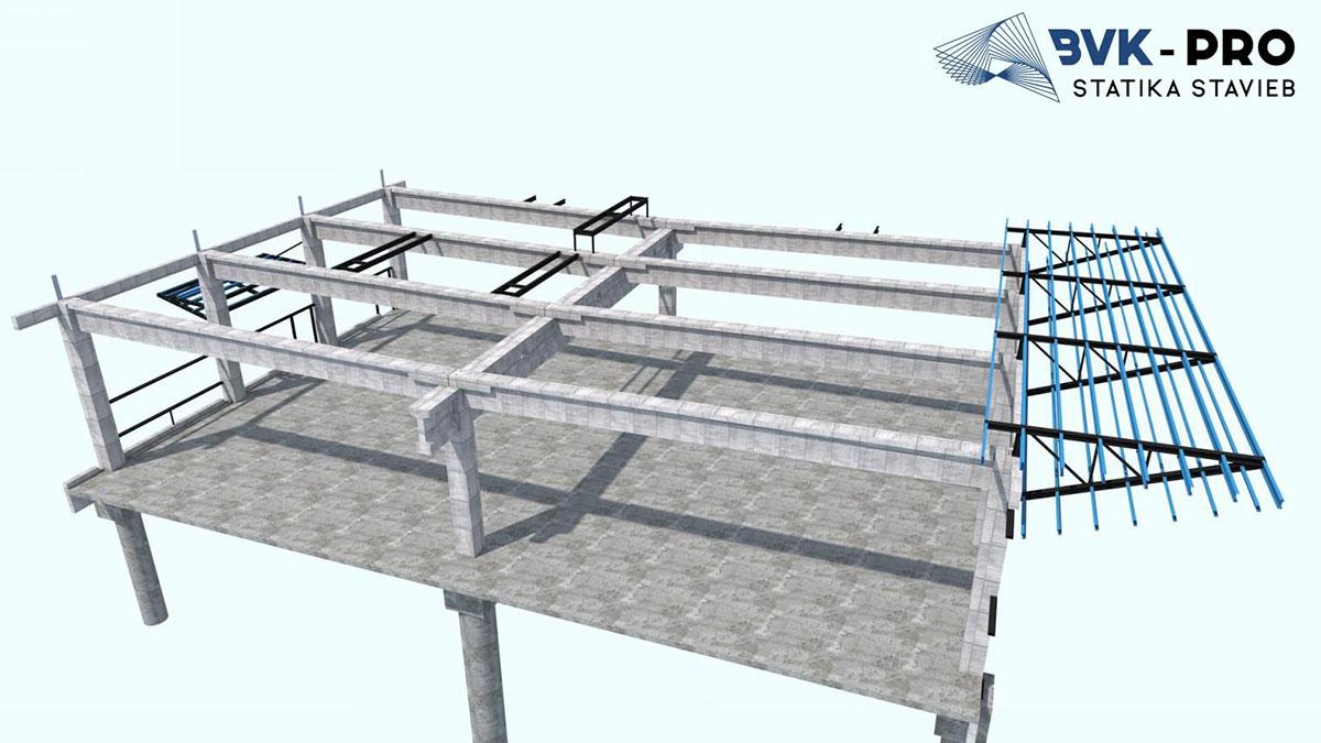 Hlavným nosným prvkom strechy sú predpäté väzníky I-prierezu, na ktoré sú ukladané predpäté väznice T-prierezu