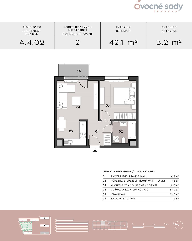Pôdorys 2-izbového bytu A.4.02.