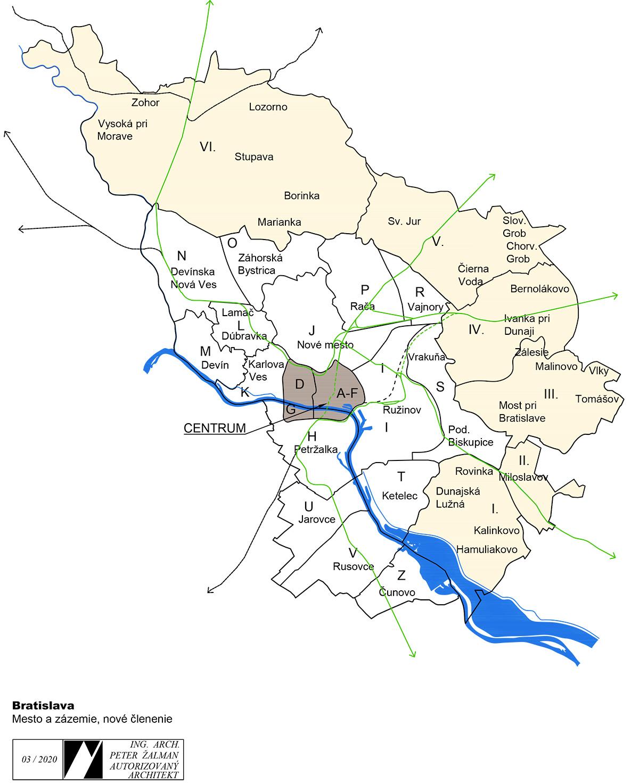 Bratislava – mesto a zázemie. Nové členenie.