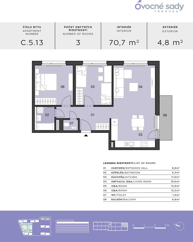 Pôdorys 3-izbového bytu C.5.13.
