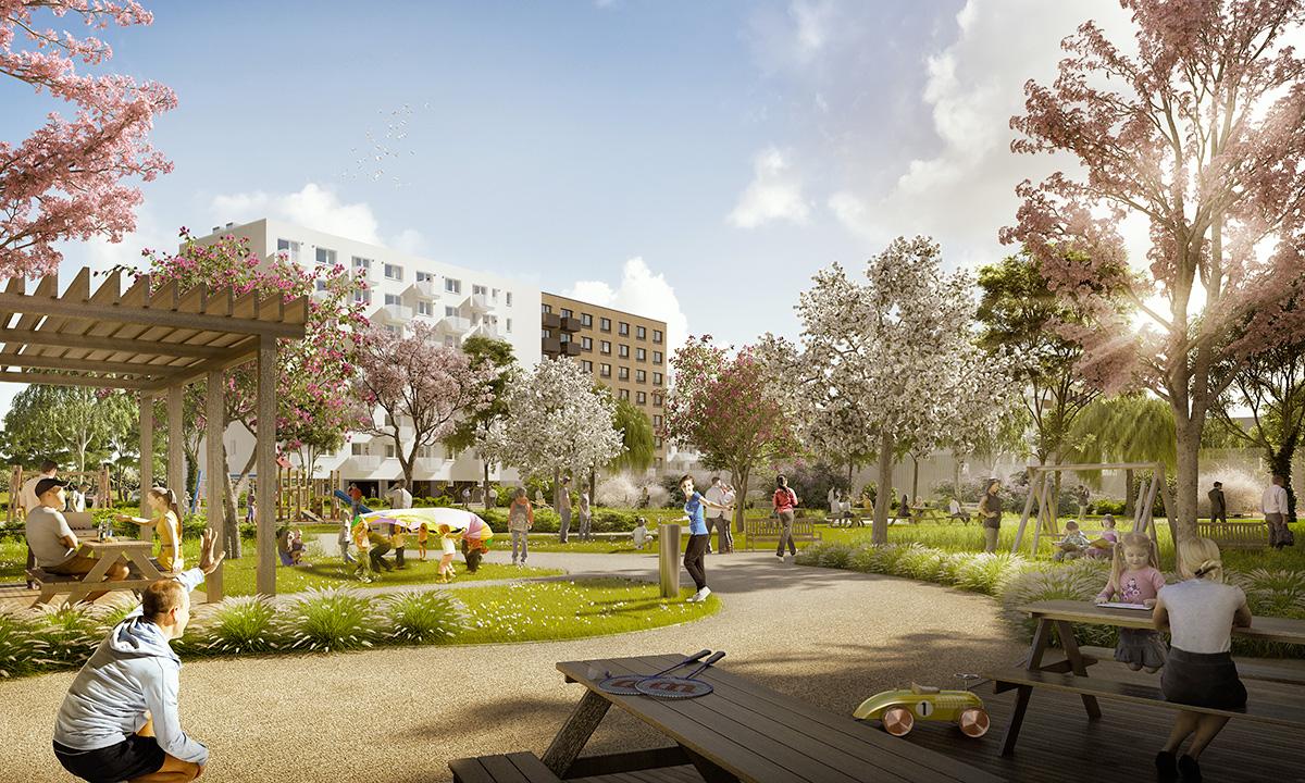 Centrom projektu je park s okrasnými ovocnými stromami, detským ihriskom, fontánkou a komunitným grilom.
