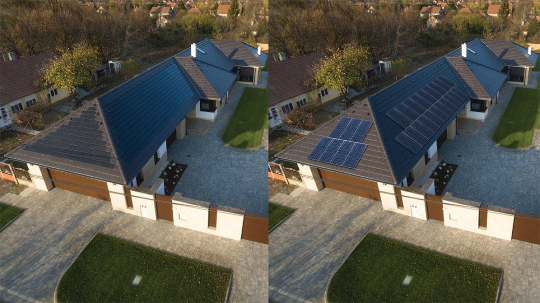 Na obrázku je uvedené porovnanie štandardných solárnych modulov a výrobku Terran Generon. Škridla so solárnymi článkami sa dá úplne zapustiť do roviny strechy tým vôbec neruší vzhľad okolia.