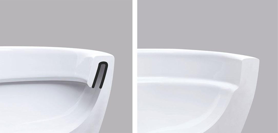 Vľavo: tradičná WC misa, vpravo: WC misa Geberit Rimfree bez splachovacieho okraja
