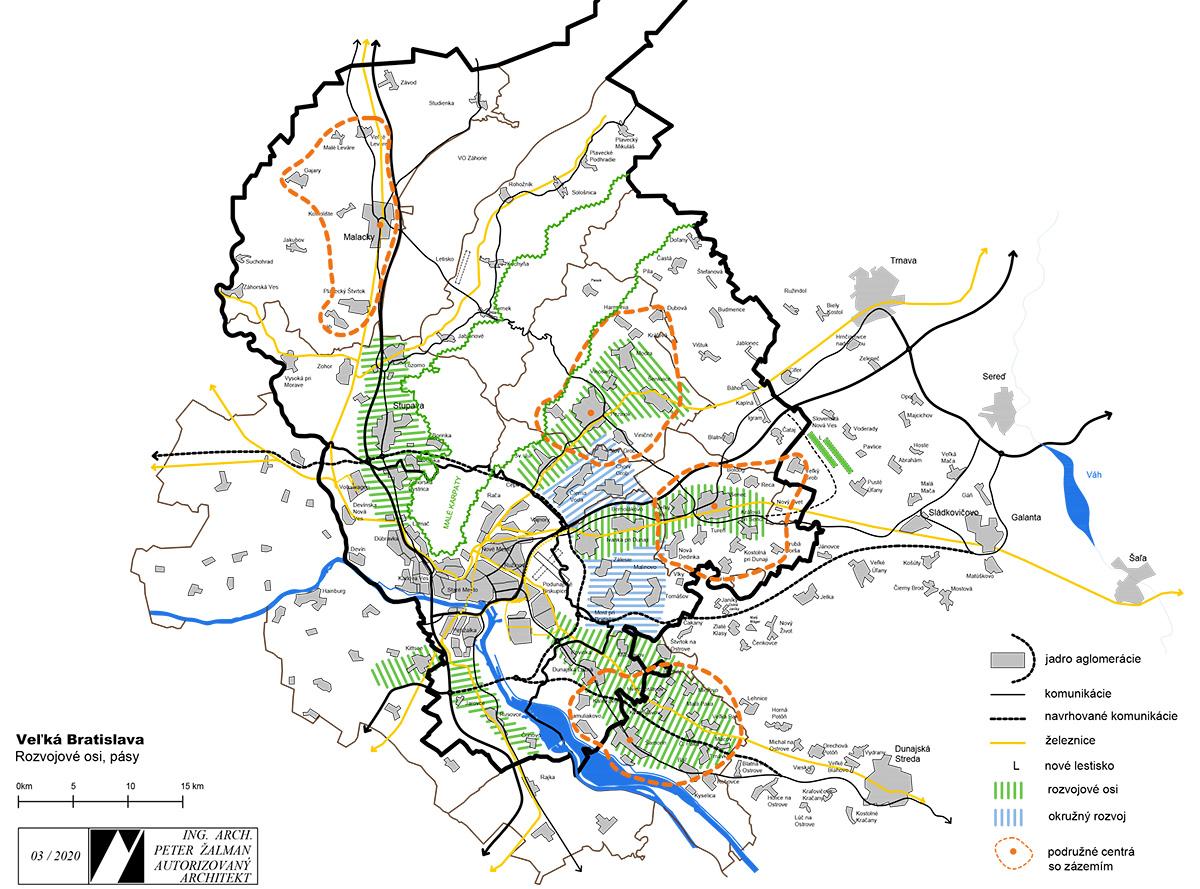 Veľká Bratislava, rozvojové osi, pásy.