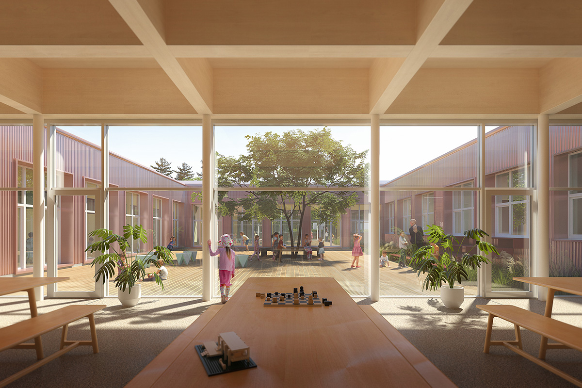 Vizualizácia átria a interiérov doplnených priestorov.