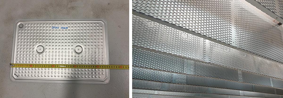 Obr. 2 Pohľad na použité kazety sPCM (hore) ana zavesené plechové lamely vskúšobnej kabíne