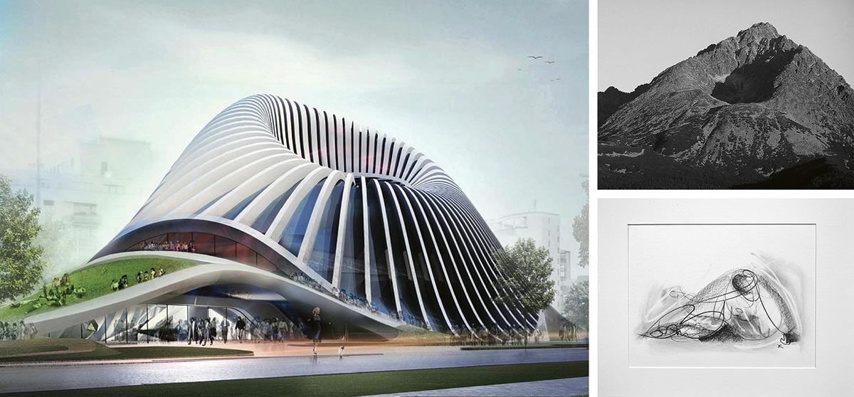 Slovak Art Centre – vizualizácia Centra pri Dunaji inšpirovaného Gerlachovským štítom.