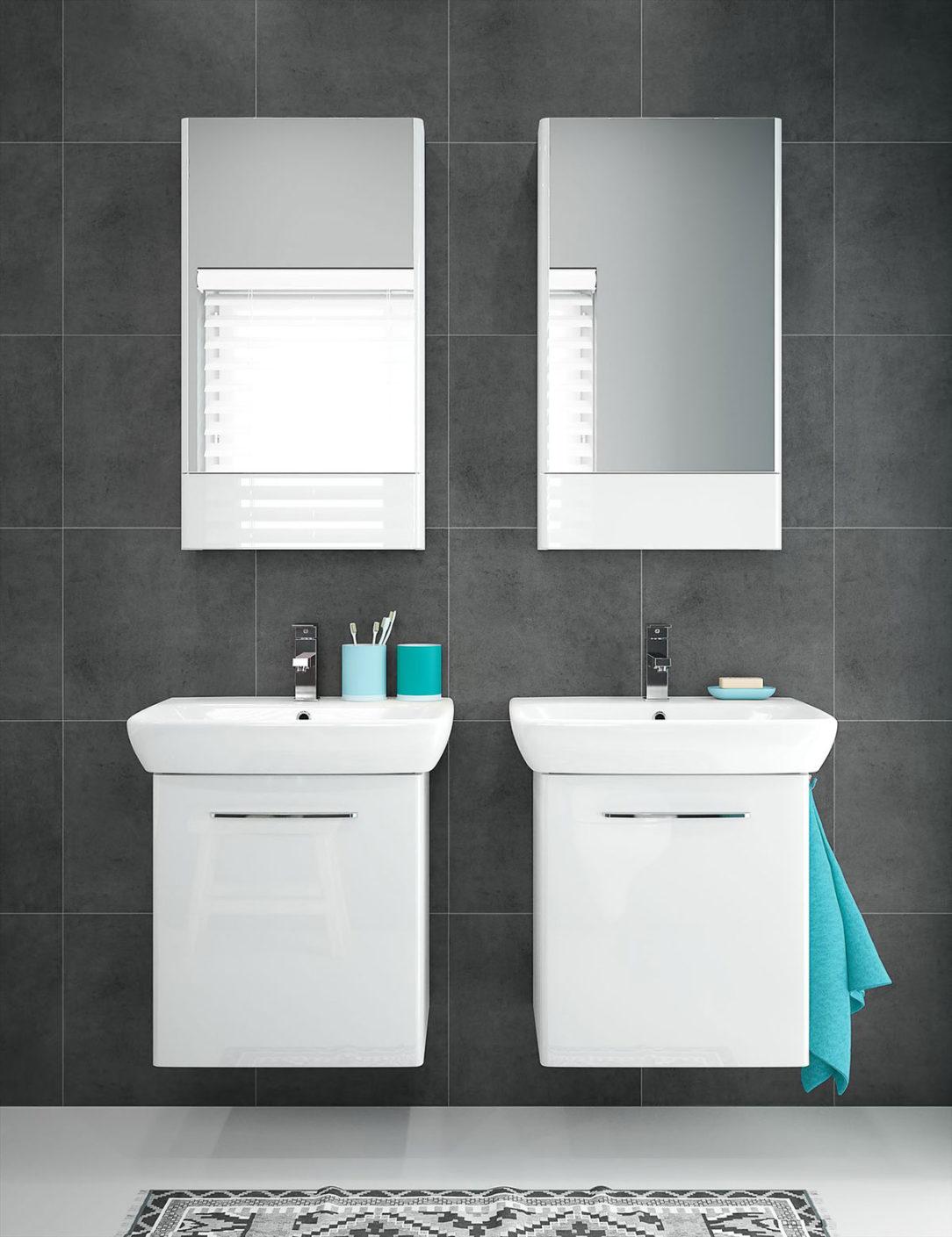 Umývadlá umývadlové skrinky a zrkadlové skrinky z kúpeľňového radu Geberit Selnova Square