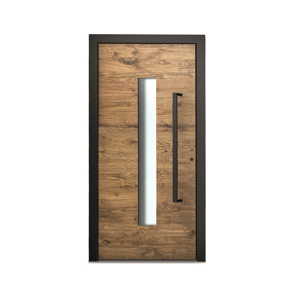 AT410 perfektná kombinacia tmaveho ramu čierneho madla a vonkajsieho porvrchu vo vzhlade stareho dreva Altholoptik