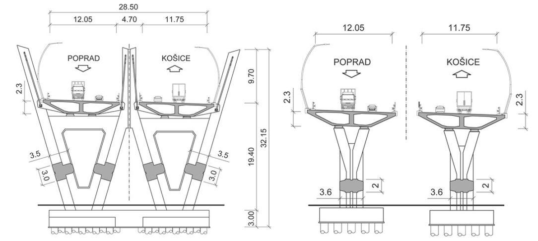 Obr. 2 Priečne rezy mostným objektom 201-00