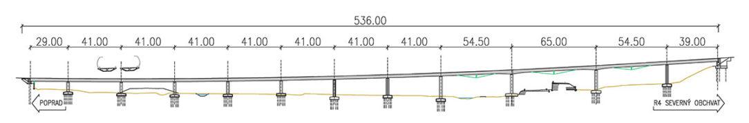 Obr. 6 Pozdĺžny rez mostným objektom 208-00