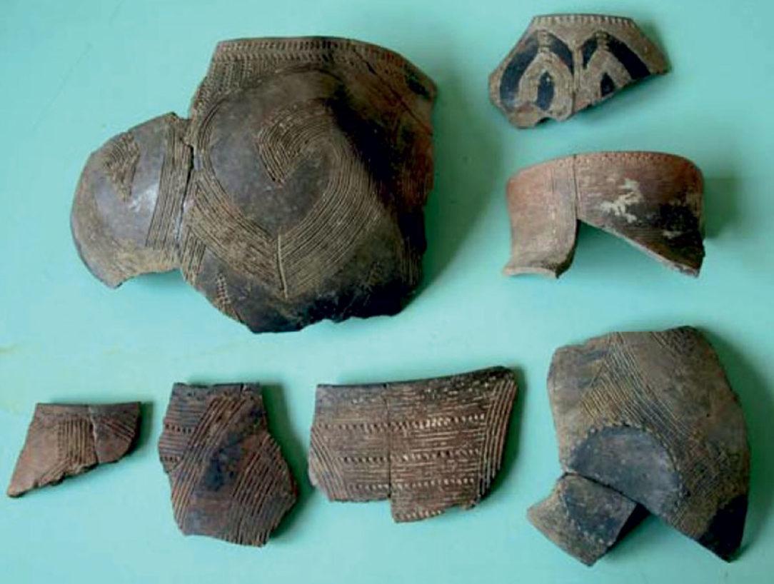 Časti keramických nádob nájdených v lokalite Veľký Šariš Terasa nad potokom Dzikov