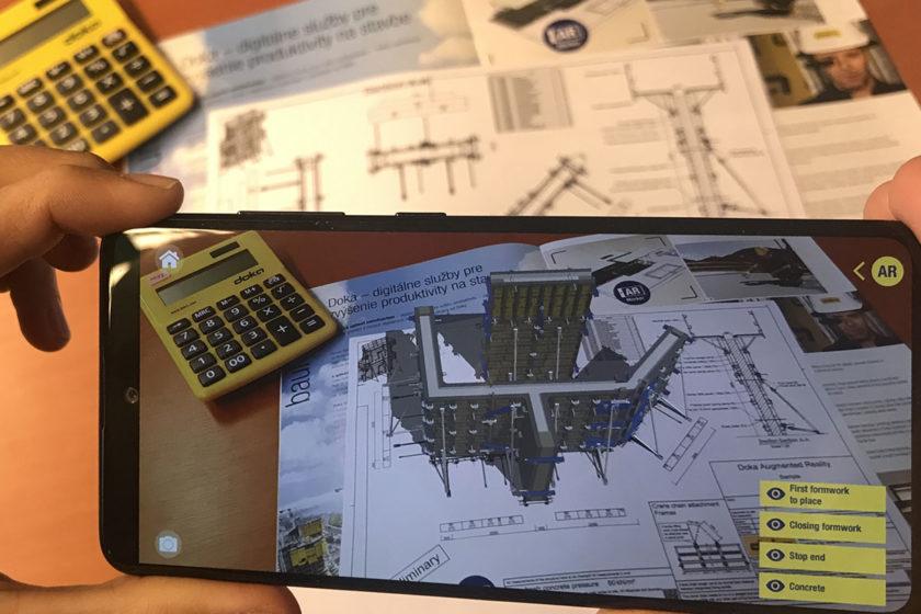 Pomocou aplikácie Doka AR-VR si môžete zobraziť na vybraných výkresoch 3D zobrazenie riešenia debniaceho systému.