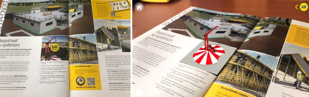 Vľavo – v časopise Doka Xpress fotka, na ktorej je AR marker. Vpravo – načítanie AR markera cez aplikáciu Doka AR-VR pomocou mobilu, ukáže sa produkt v 3D zobrazení.