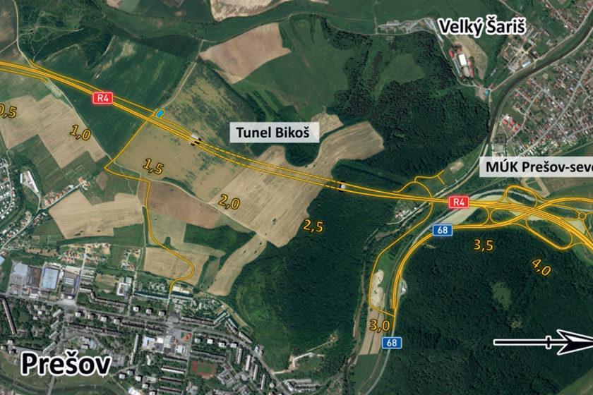 Trasa rýchlostnej cesty R4 v úseku Prešov – severný obchvat, I. etapa