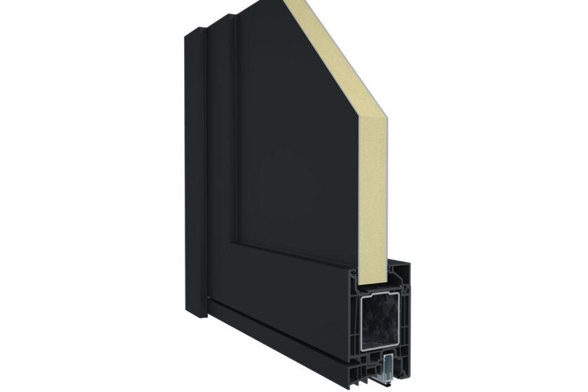 Elegant Infinity 76 X bez technológie ThermoFibra: oceľová výstuž s hrúbkou steny 2,0 mm v ráme a krídle.