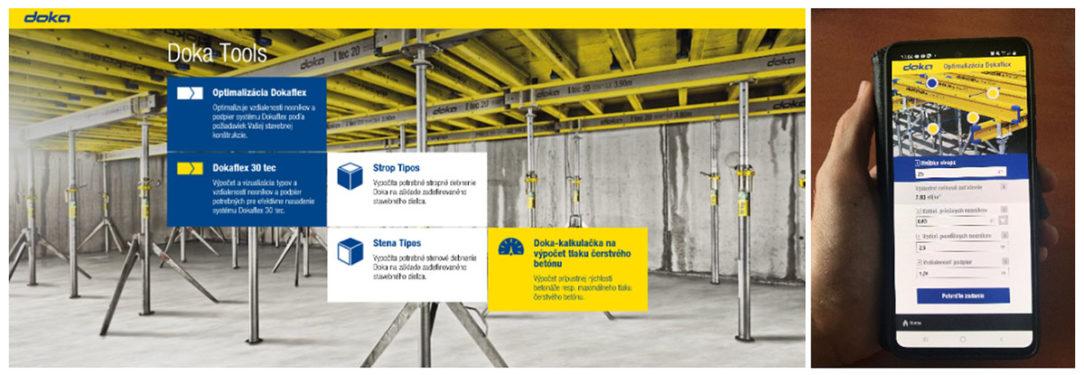 Aplikácia Doka Tools obsahuje 5 samostatných aplikácií vhodných na praktické využitie na stavbe.