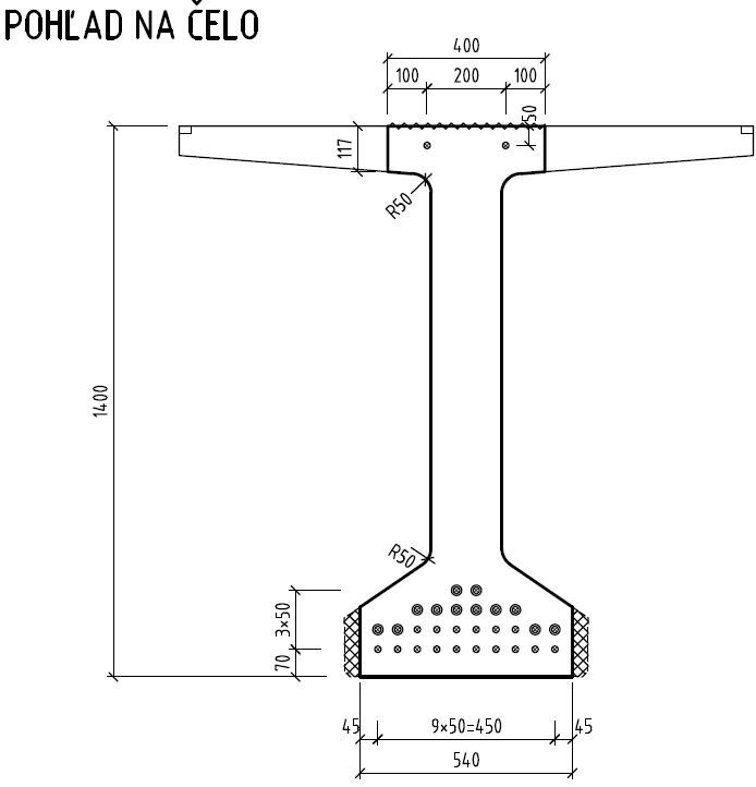 Obr. 1 Nosník IST-EN/08 – 30 m, pohľad na čelo
