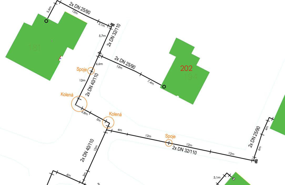 Obr. 3 Návrh kladačského plánu pre oceľové predizolované potrubie so spojmi každých 12 m a kolenami