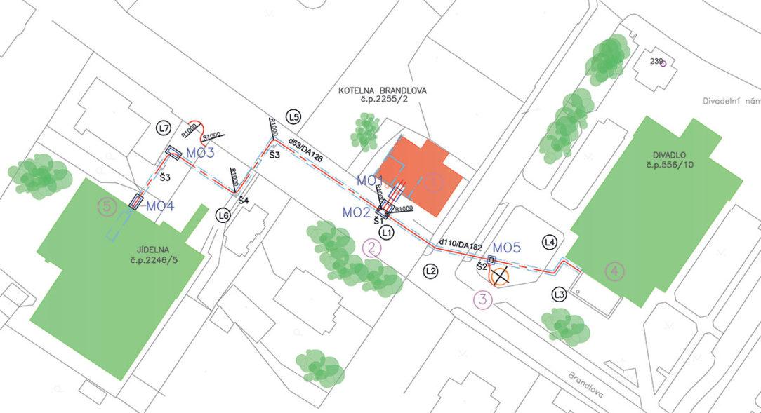 Obr. 5 Kladačský plán a vyznačenie montážnych otvorov pri vťahovaní potrubia do existujúceho technického kanála v Chebe