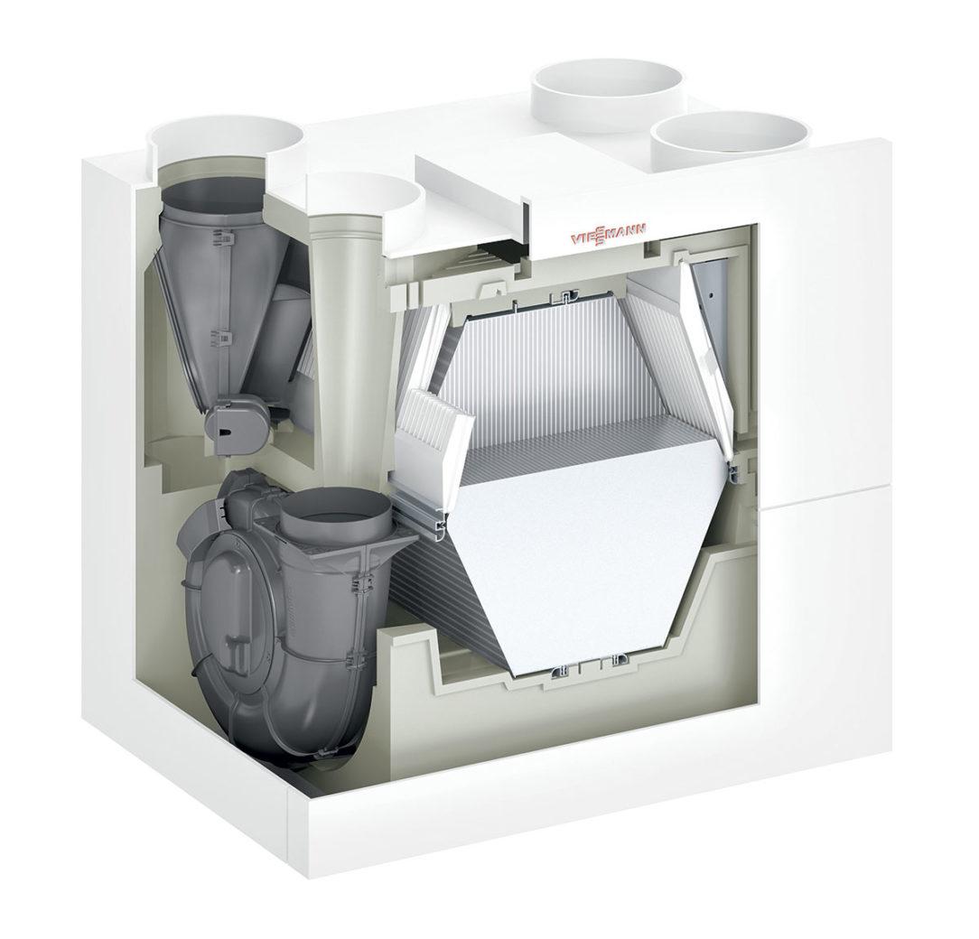 Centrálny vetrací systém Vitovent 300-W, rez produktu.