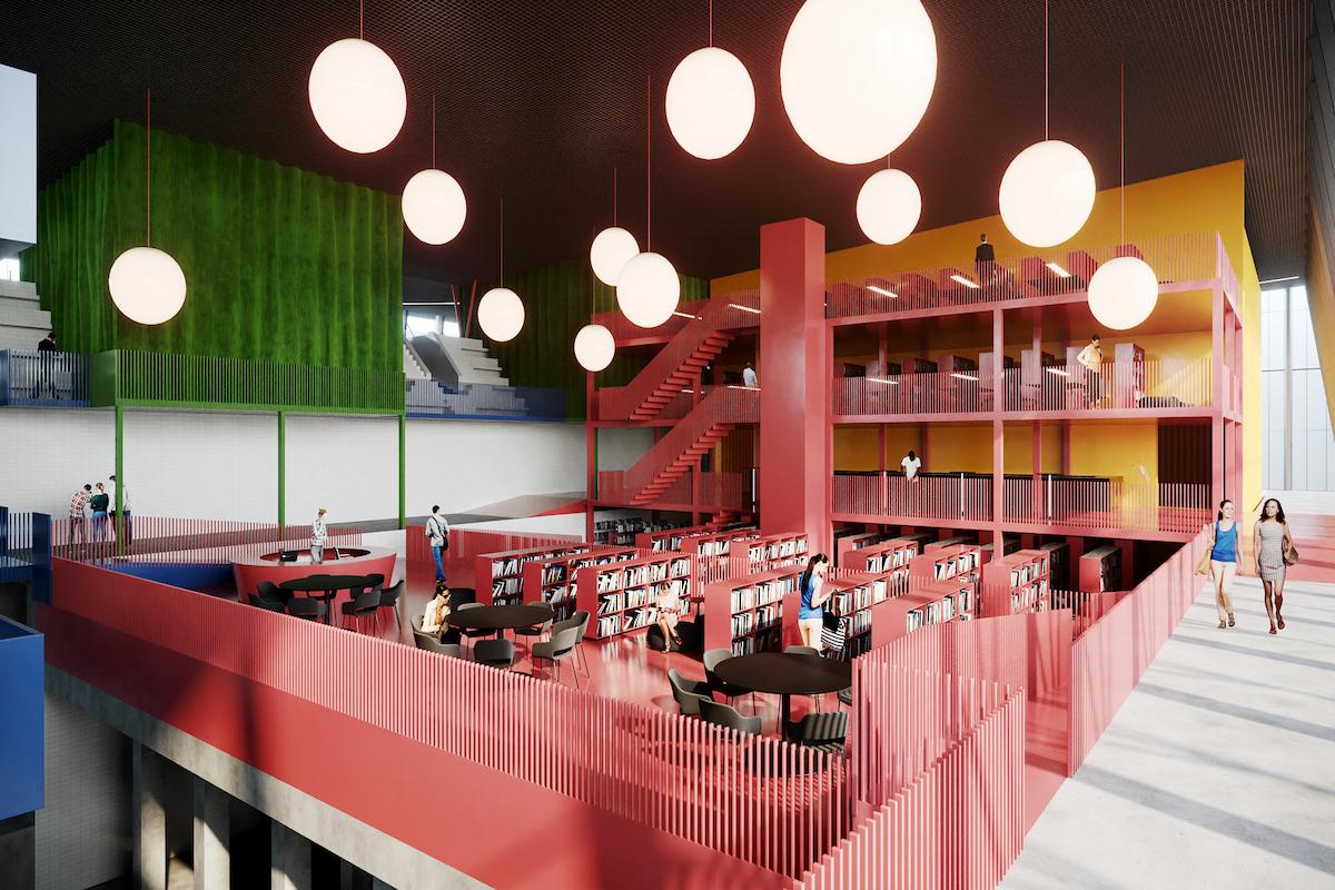 Návrh knižnice s prednáškovou sálou.