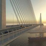 Dizajnové znázornenie mosta Harbour Bridge v Corpus Christi na pobreží Texaského zálivu, ktorý sa v súčasnosti stavia s predpokladanou životnosťou diela 170 rokov.