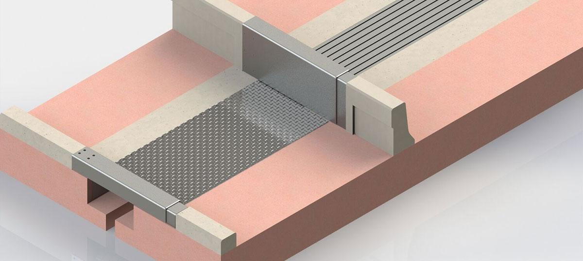 Detail z konštrukčného znázornenia mostného záveru TENSA® MODULAR, zobrazujúci prekrytie chodníka pre chodcov/cyklistov a krycie plechy bariéry