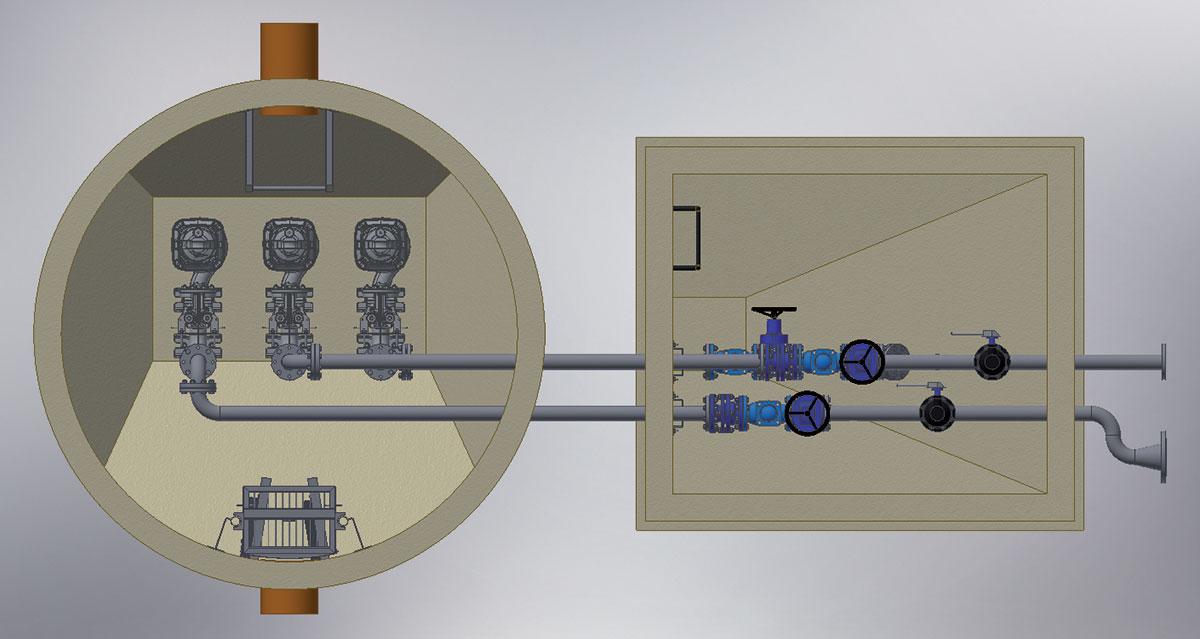 Obr. 5 Schéma ČS s tromi čerpadlami a armatúrnou šachtou