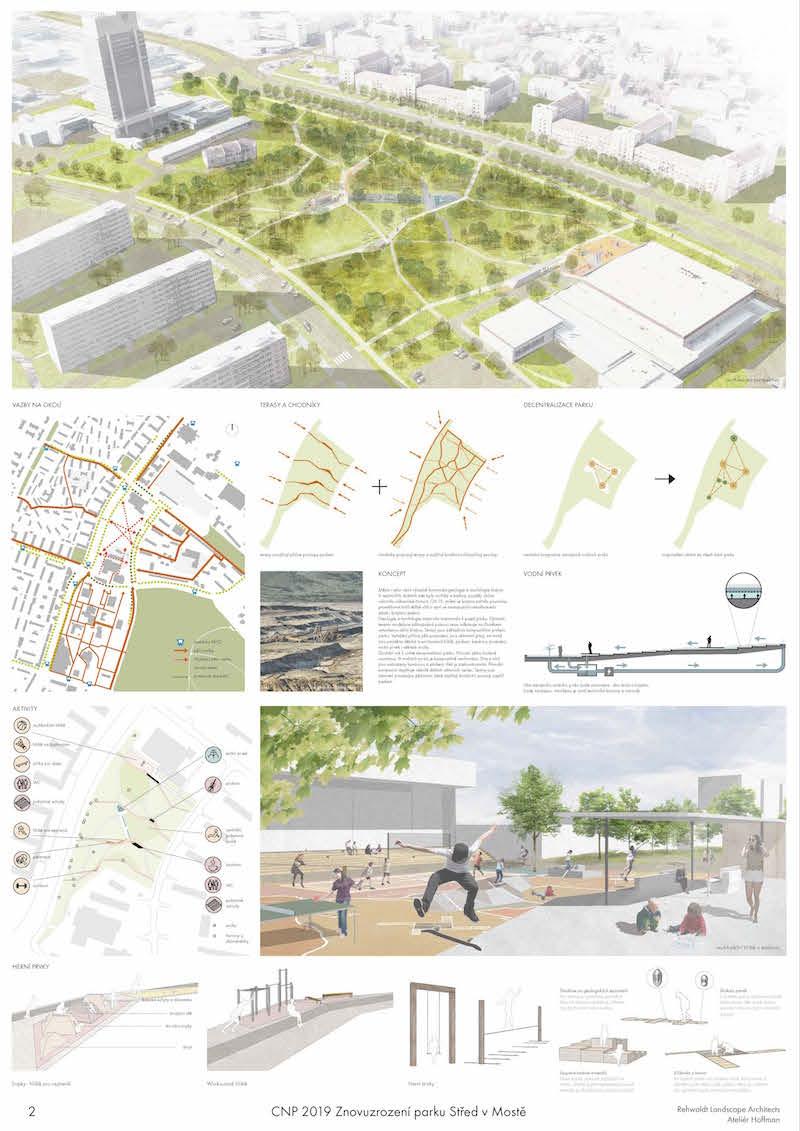 1. miesto – znovuzrodenie parku Střed v Moste by malo byť aj prostredníctvom ihrísk.