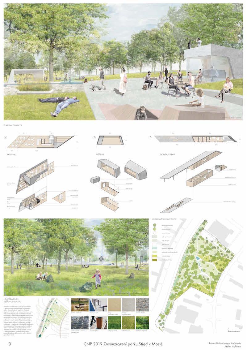 1. miesto – terasy sú základným kompozičným prvkom parku.