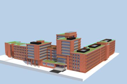 Vizualizácia administratívnej budovy po plánovanej obnove.