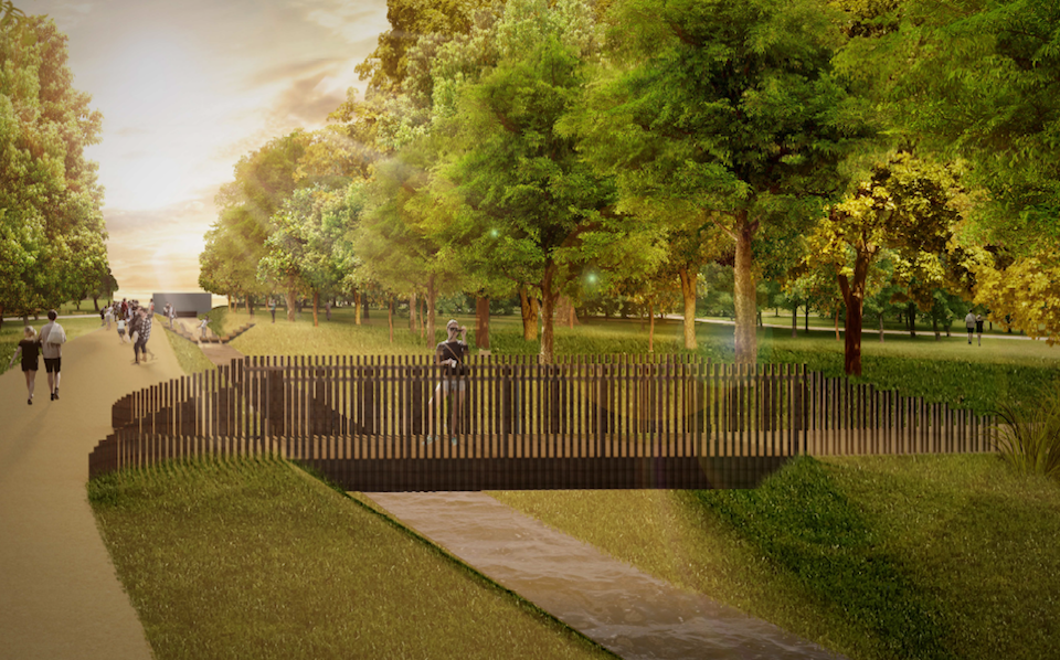 Spoločenská zóna bude hlavným prepojením dvoch autobusových zastávok s malým námestím a lávkou cez vodný tok Vydumanec.
