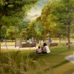 Vizualizácia revitalizácie parku.
