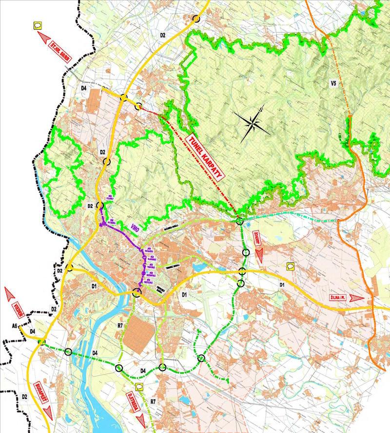 Obr. 1 Situácia navrhovaného vnútorného mestského okruhu
