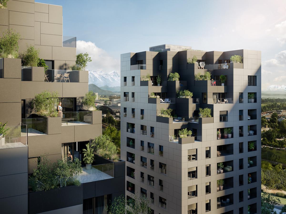 Pre najvyššie poschodia budú charakteristické veľké terasy a ustupujúce zárezy.